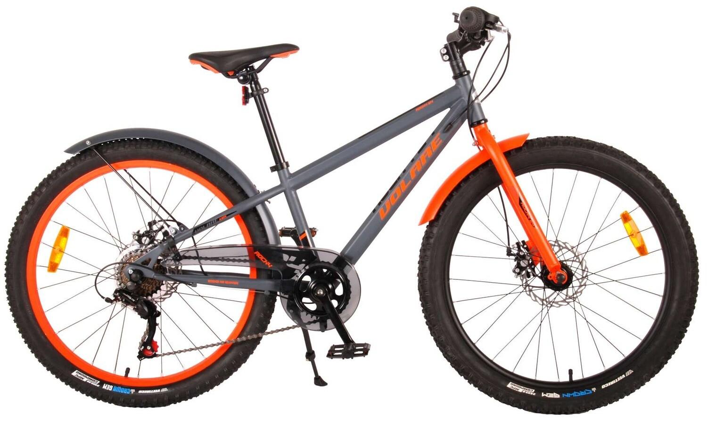 Kinder-Fahrrad Velo Volare Rocky 24 Zoll 31,75 cm Jungen 6G Scheibenbremse Dunkelgrau/Orange