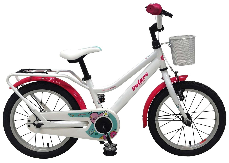 Kinder-Fahrrad Velo Volare Brilliant 16 Zoll 25,4 cm Mädchen Rücktrittbremse Weiss/Rosa