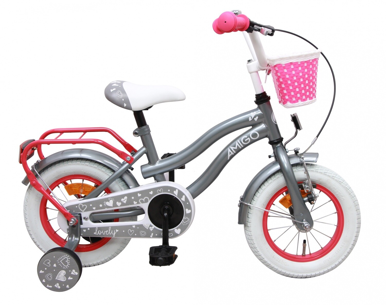 Kinder-Fahrrad Velo AMIGO Lovely 12 Zoll 22 cm Mädchen Rücktrittbremse Grau