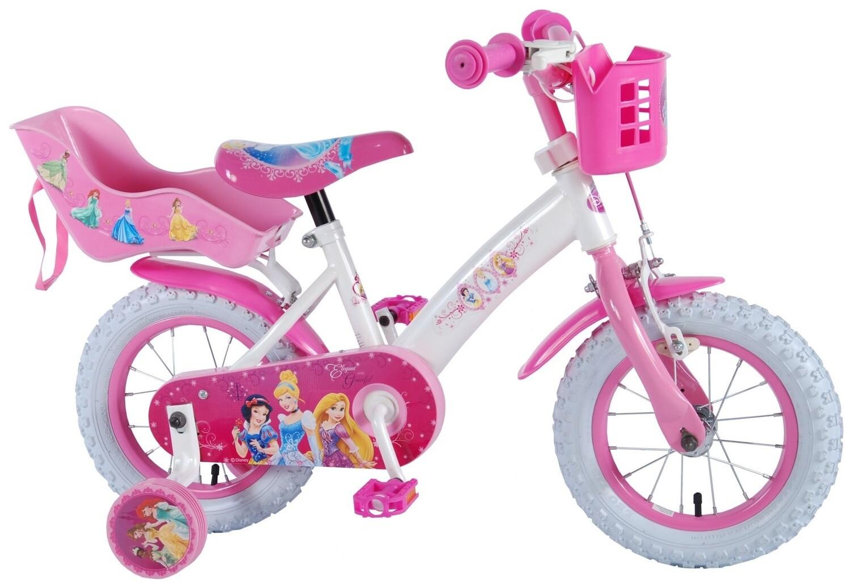 Kinder-Fahrrad Velo Disney Princess DC 12 Zoll 21,5 cm Mädchen Rücktrittbremse Weiss/Rosa