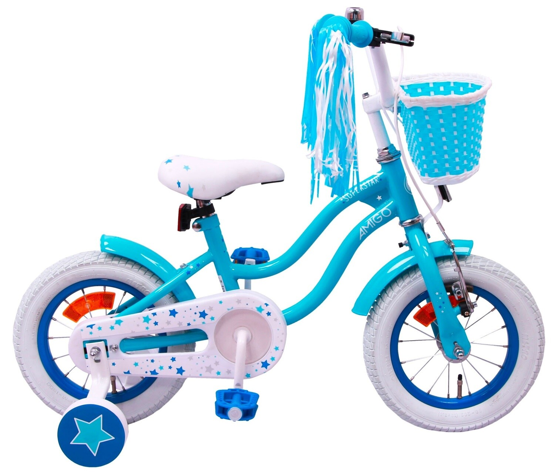 Kinder-Fahrrad Velo AMIGO Superstar 12 Zoll Mädchen Rücktrittbremse Hellblau