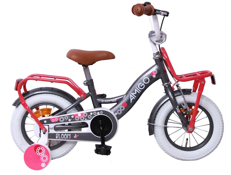 Kinder-Fahrrad Velo AMIGO Bloom 12 Zoll 21 cm Mädchen Rücktrittbremse Grau