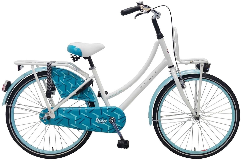Kinder-Fahrrad Velo Volare Dolce 24 Zoll 37 cm Mädchen Rücktrittbremse Weiss/Blau