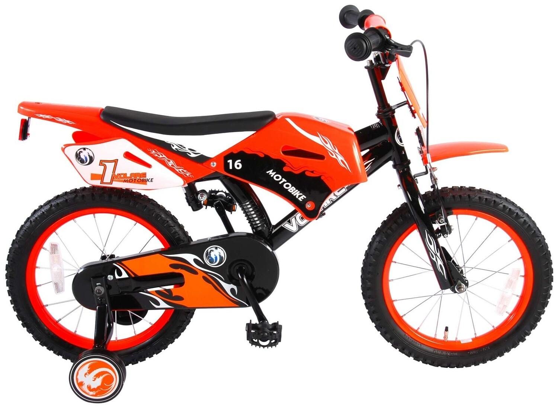 Kinder-Fahrrad Velo Volare Motorbike 16 Zoll 25,4 cm Jungen Rücktrittbremse Schwarz/Rot