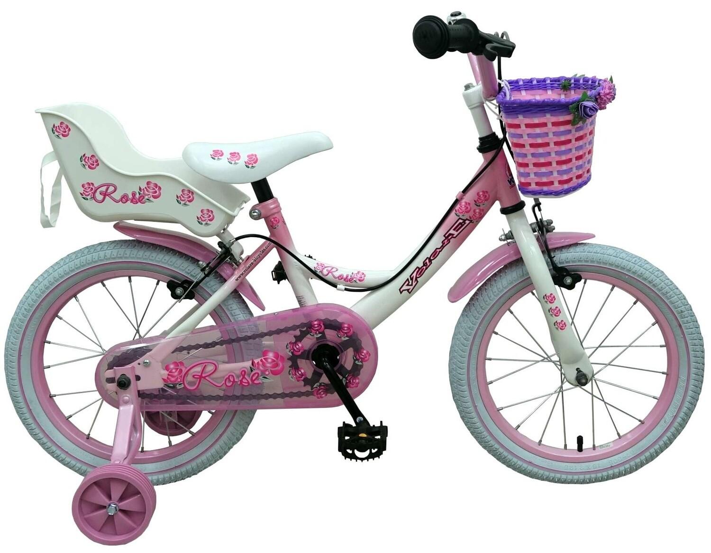 Kinder-Fahrrad Velo Volare Rose 16 Zoll 25,4 cm Mädchen Felgenbremse Weiss/Rosa