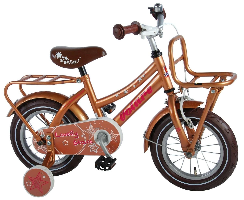Kinder-Fahrrad Velo Volare Lovely Stars 12 Zoll 21,5 cm Mädchen Rücktrittbremse Gold
