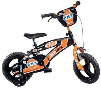 Kinder-Fahrrad Velo Dino BMX 12 Zoll 18 cm Jungen Über Treppen Schwarz/Orange