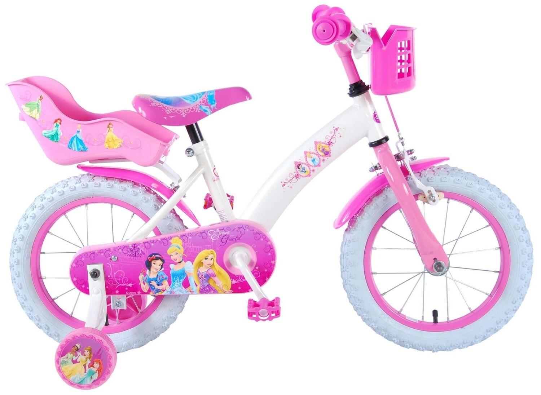 Kinder-Fahrrad Velo Disney Princess 14 Zoll 23,5 cm Mädchen Rücktrittbremse Weiss/Rosa
