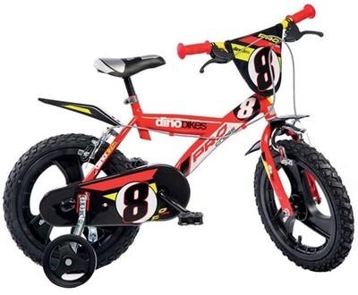Kinder-Fahrrad Velo Dino Pro Cross 14 Zoll 24 cm Jungen Felgenbremse Rot/Schwarz