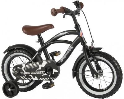 Kinder-Fahrrad Velo Yipeeh Black Cruiser 12 Zoll 21,5 cm Jungen Rücktrittbremse Mattschwarz