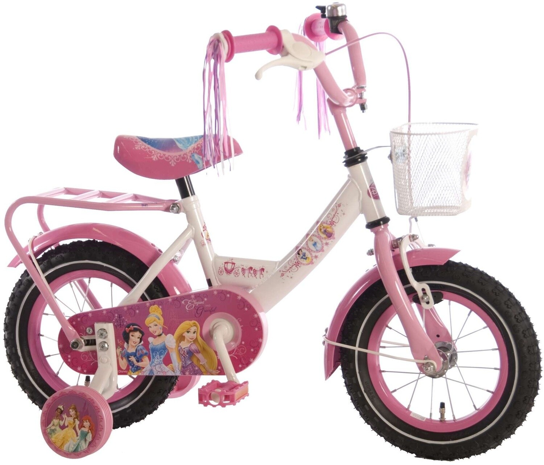 Kinder-Fahrrad Velo Disney Princess 12 Zoll 21,5 cm Mädchen Rücktrittbremse Weiss/Rosa