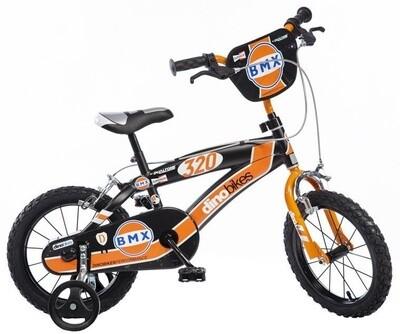 Kinder-Fahrrad Velo Dino BMX 16 Zoll 25 cm Jungen Felgenbremse Schwarz/Orange