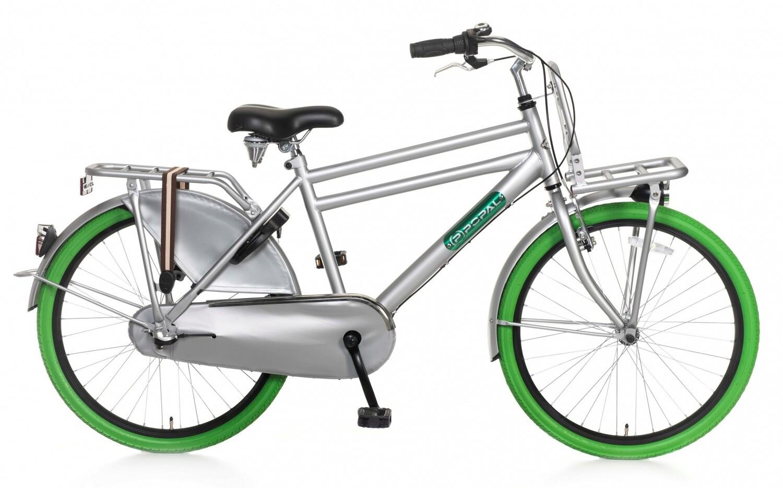 Kinder-Fahrrad Velo Hollandrad Popal Daily Dutch Basic+ 24 Zoll Jungen 3G Rücktrittbremse Grau/Grün