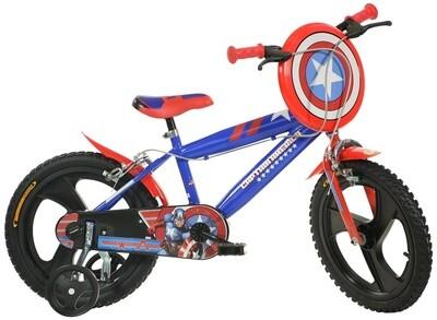 Kinder-Fahrrad Velo Dino 416UL-CA Captain America 16 Zoll 27 cm Jungen Felgenbremse Blau