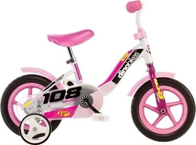 Kinder-Fahrrad Velo Dino 108L-Girl 10 Zoll 17 cm Mädchen Weiss