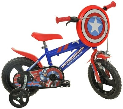 Kinder-Fahrrad Velo Dino 412UL-CA Captain America 12 Zoll 21 cm Jungen Felgenbremse Blau