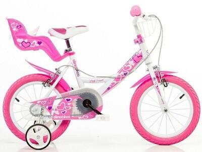 Kinder-Fahrrad Velo Dino 144RN-05LH Little Heart 14 Zoll Mädchen Felgenbremse Weiss
