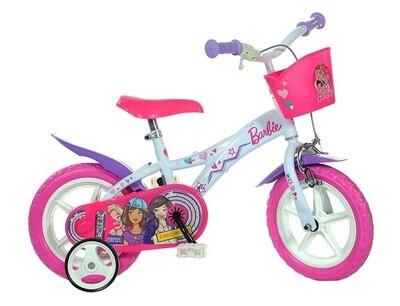 Kinder-Fahrrad Velo Dino 612GL-BA Barbie 12 Zoll Mädchen Felgenbremse Weiss