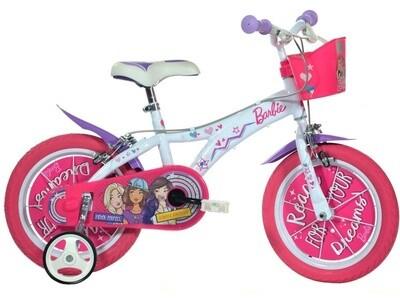 Kinder-Fahrrad Velo Dino 146R Barbie 14 Zoll Mädchen Felgenbremse Rosa