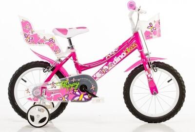 Kinder-Fahrrad Velo Dino 146R 14 Zoll 24 cm Mädchen Felgenbremse Rosa
