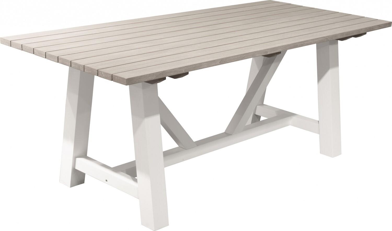 Pro Garden Esstisch 200 x 90 cm Holz weiss / braun