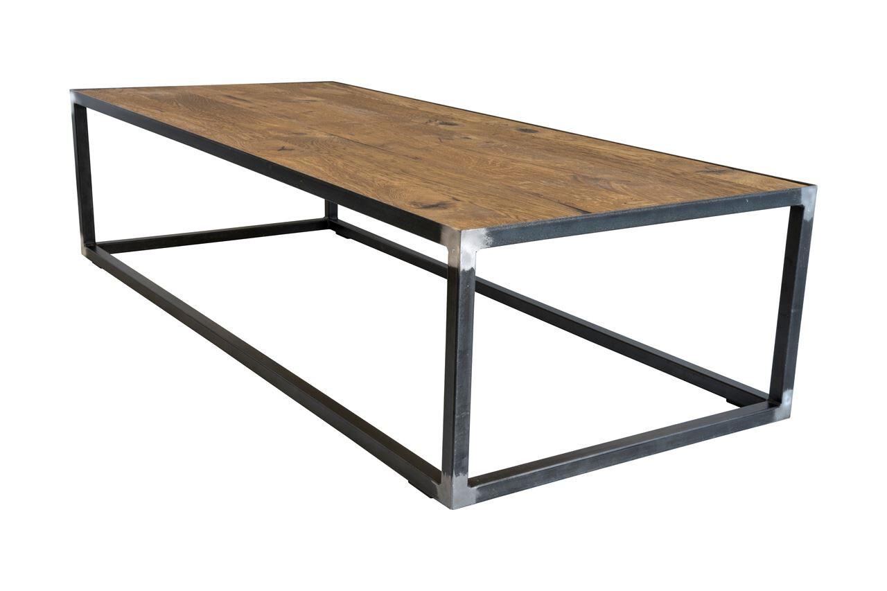 Spinder Design Beistelltisch 140 x 60 x 35 cm Stahl / Holz schwarz / braun