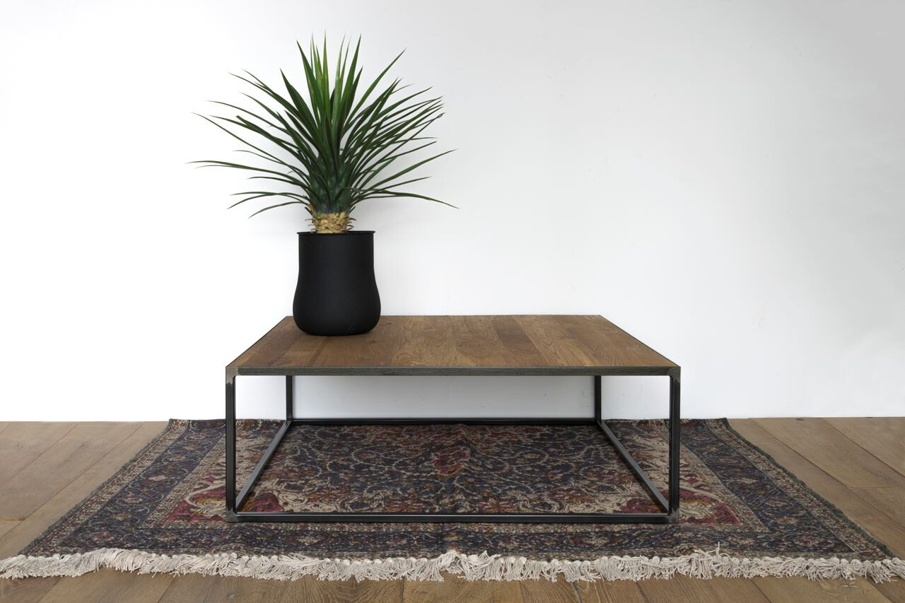 Spinder Design Beistelltisch 100 x 100 x 35 cm Stahl / Holz schwarz / braun