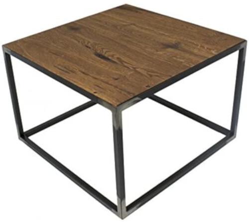 Spinder Design Beistelltisch 60 x 60 x 35 cm Stahl / Holz schwarz / braun
