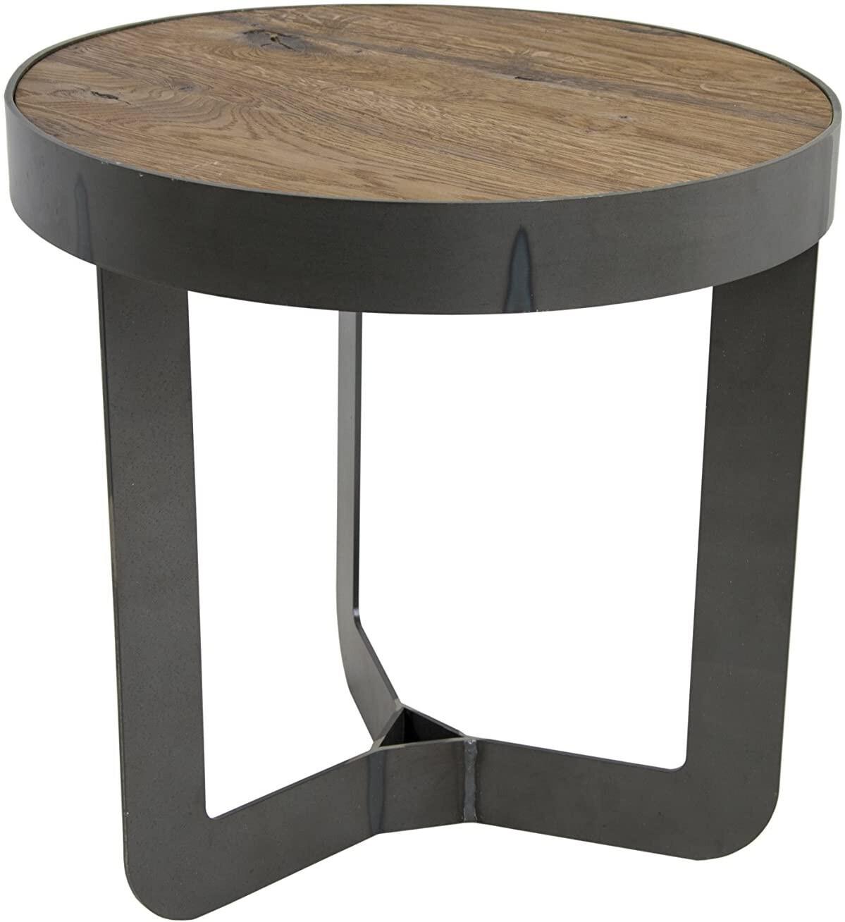 Spinder Design Beistelltisch 46 x 50 cm Stahl / Holz schwarz / braun