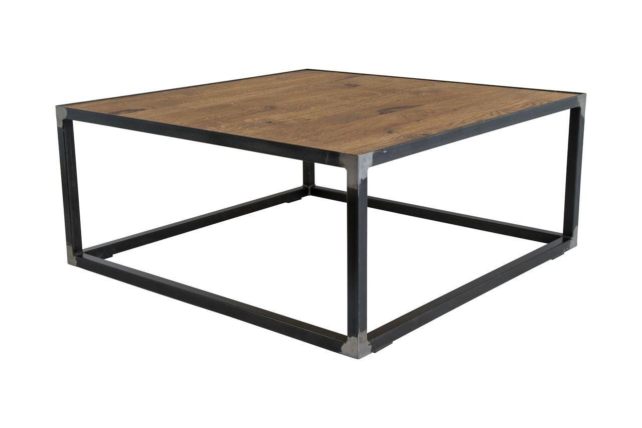 Spinder Design Beistelltisch 80 x 80 x 35 cm Stahl / Holz schwarz / braun