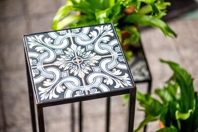 Spinder Design Beistelltisch 20 x 20 x 60 cm Stahl / Keramik schwarz / blau