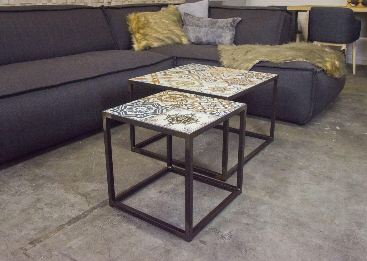 Spinder Design Beistelltisch Ibiza 40 x 40 cm Stahl / Keramik schwarz