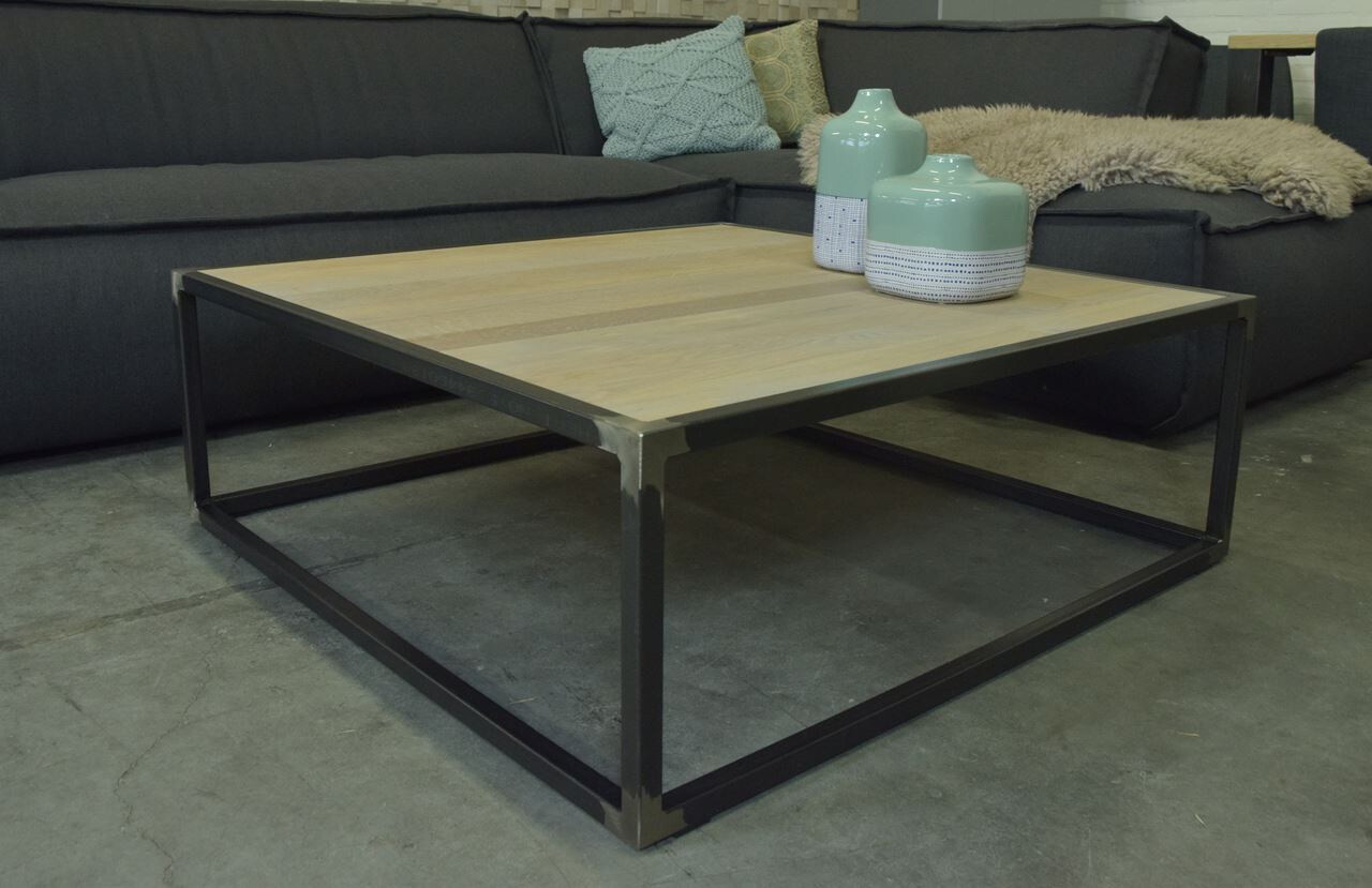 Spinder Design Couchtisch Diva 100 x 35 Stahl / Holz Natur / Schwarz