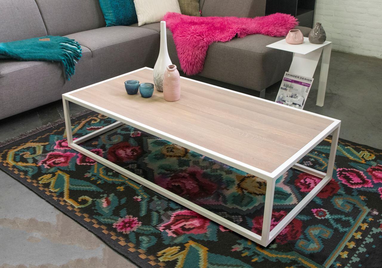 Spinder Design Couchtisch Diva 140 x 70 x 35 Holz natur / weiß