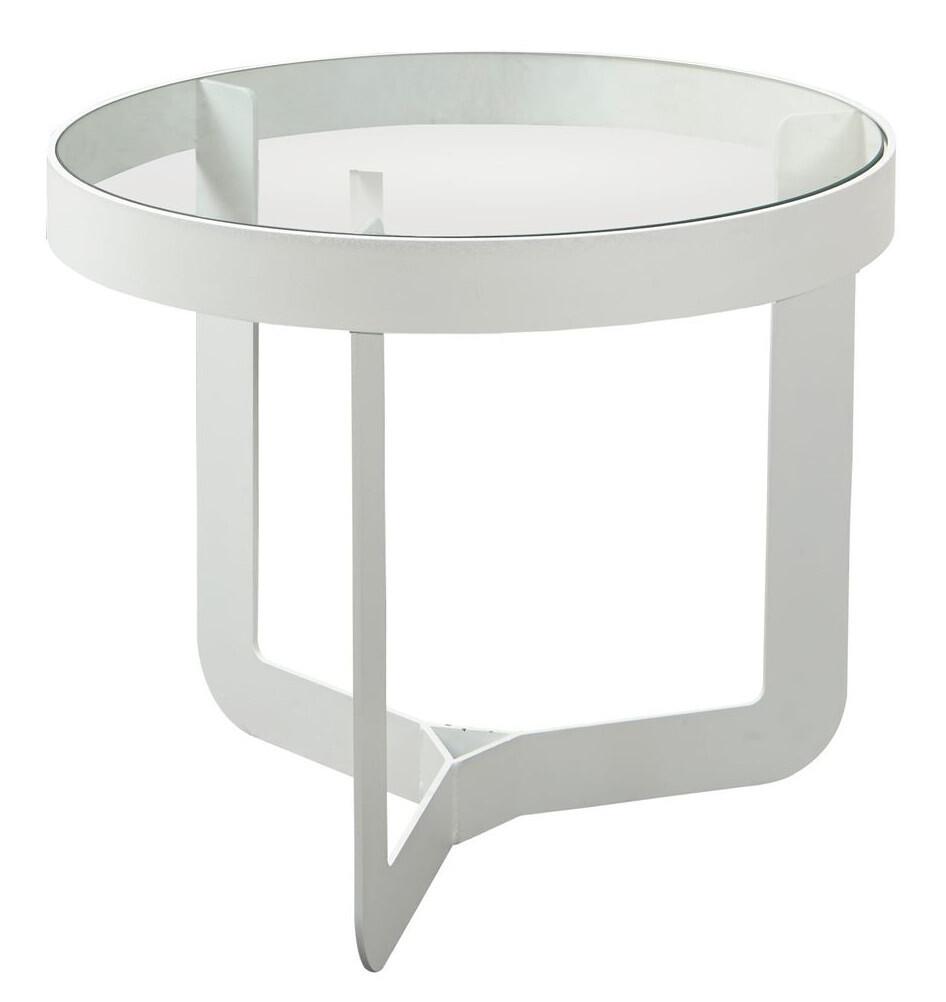 Spinder Design Beistelltisch Douglas 41 x 40 cm Glas / Stahl weiss