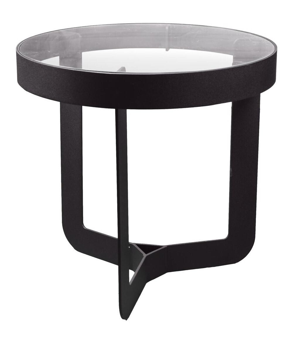 Spinder Design Beistelltisch Douglas 46 x 50 cm Glas / Stahl schwarz