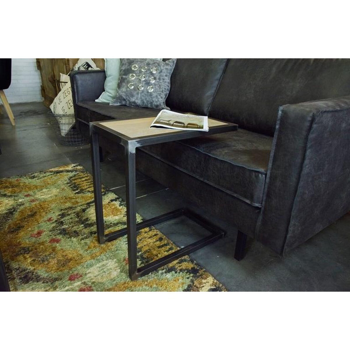 Spinder Design Beistelltisch Divani 54 cm Stahl schwarz / hellbraun