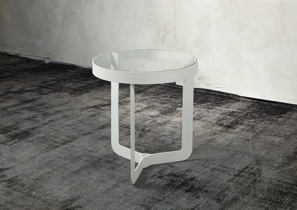 Spinder Design Beistelltisch Douglas 46 x 50 cm Glas / Stahl weiß