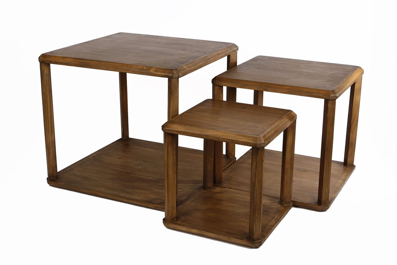 Van Manen Set aus drei quadratischen hölzernen Beistelltischen
