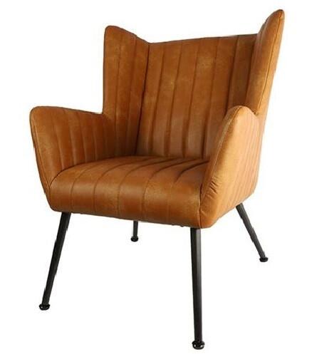 Decostar Stuhl Foley 75 x 90 cm Kunstleder / Stahl Cognac / Schwarz