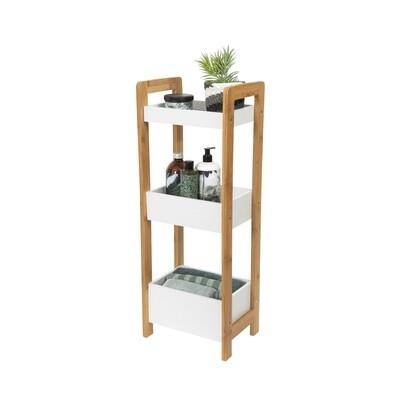 Kompaktor-Lagerregal 3 Ebenen 28 x 74 cm Holz weiss / natur