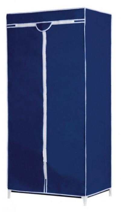 Alpina Kleiderschrank 160 x 75 x 50 cm Textil / Stahlblau