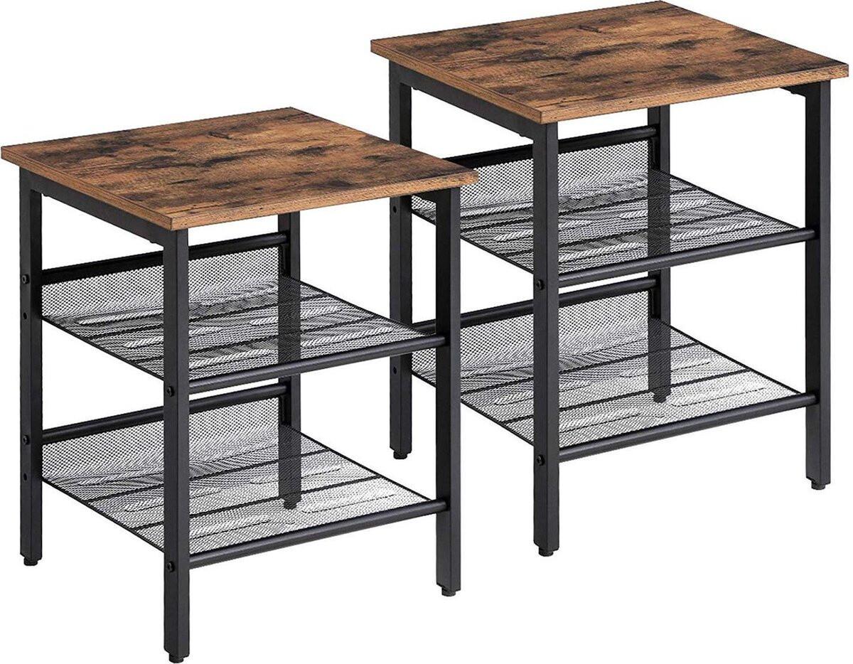 O'Daddy Nachttische Beistelltische 40 x 40 x 51 cm Stahl / Holz braun 2 Stück