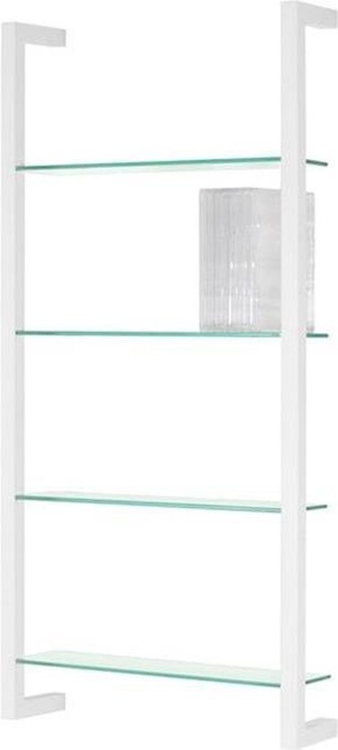 Spinder Design Wandregal Cubic 4 98 x 46 cm Stahl / Glas weiss