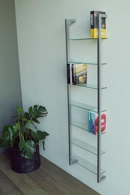 Spinder Design Wandregal kubisch 167 cm Stahl / Glas Nickel