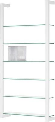 Spinder Design Wandregal Cubic 98 cm mit 6 Stahl / Glas weiss