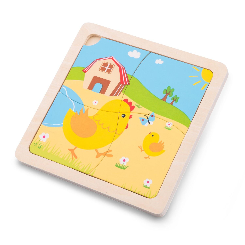 New Classic Toys Mini-Puzzlespiel Huhn Junior 15 cm Holz