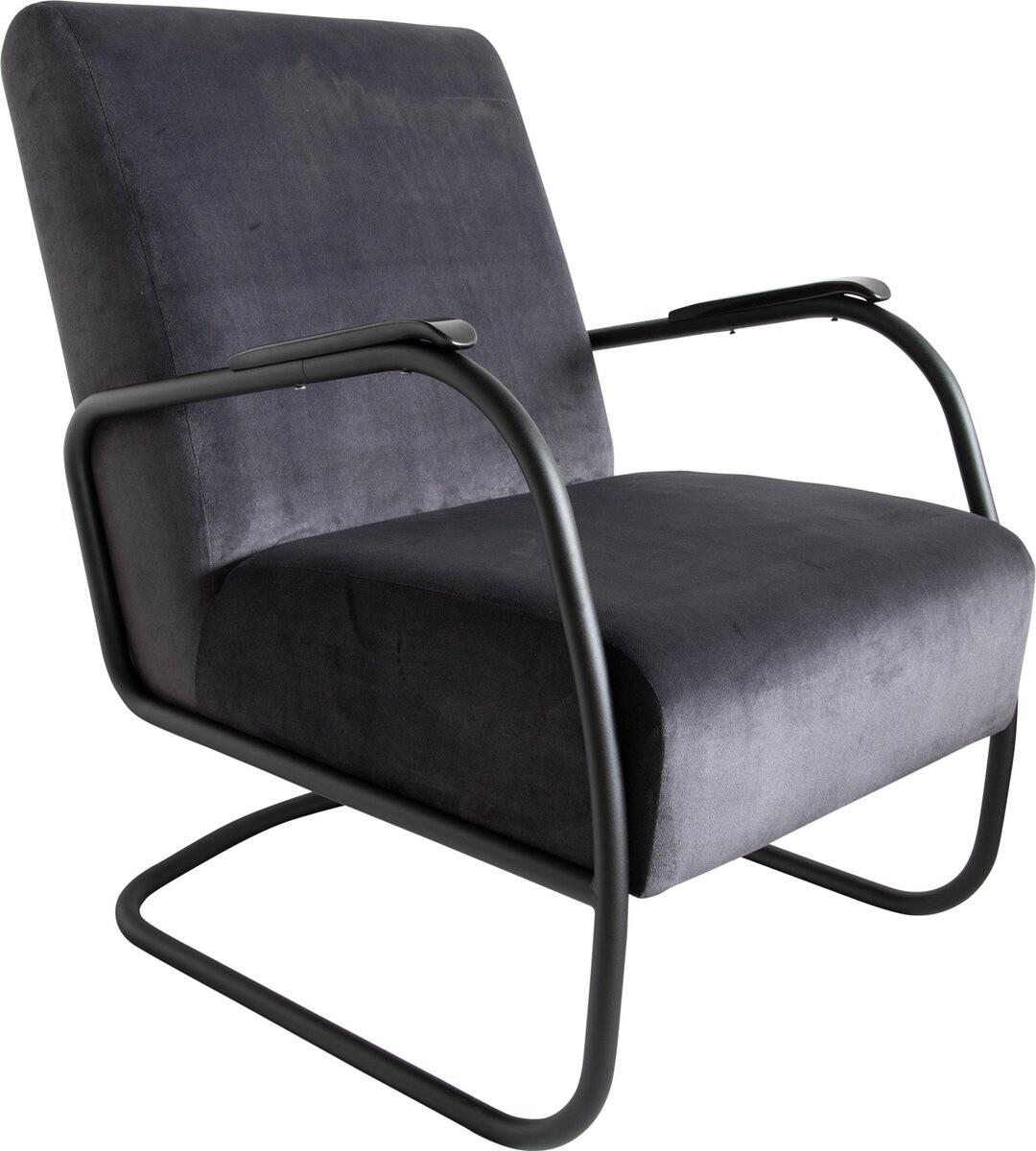 Spinder Design Sessel Retro 85 x 63 x 82 cm Edelstahl / Baumwolle schwarz