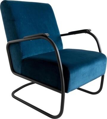 Spinder Design Sessel Retro 85 x 63 x 82 cm Edelstahl / Baumwolle blau