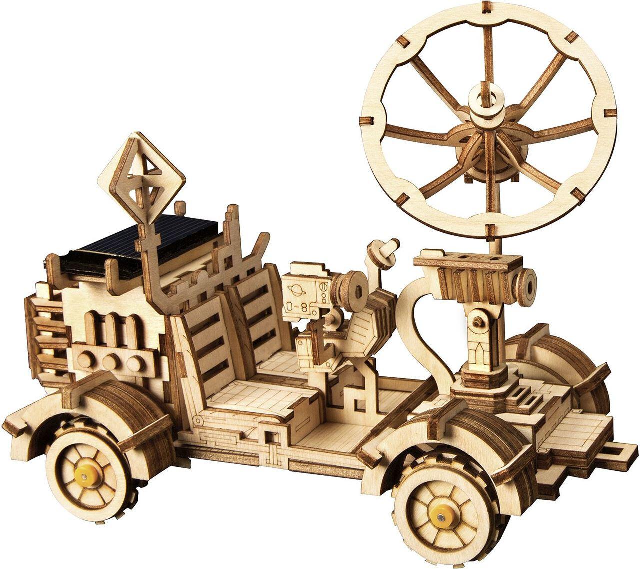 Robotime Modellbausatz Mondbuggy mit Solarzelle 18 cm Holz